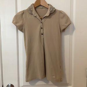 Burberry Brit Tan Brown Plaid Cotton Polo Shirt